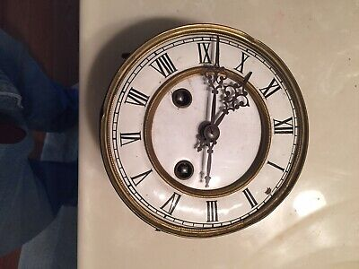 Antique German Wall Clock Movement  And Face For Restoration