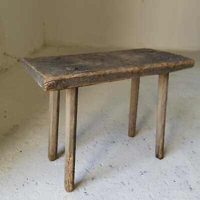Antique Rustic Hand-Carved Wooden Milking Stool or Small Table, Farmhouse Seat