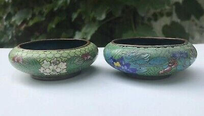 "Beautiful Pair Small Antique/Vtg  3"" Chinese Cloisonne Enamel Flower Bowls"