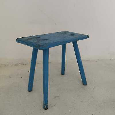 Antique Rustic Blue Hand-Carved Wooden Tripod Milking Stool or Small Table