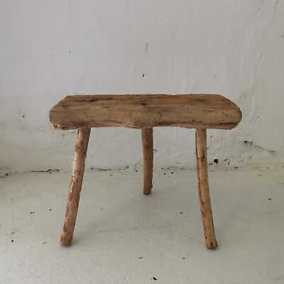 Antique Tripod Rustic Hand-Carved Wooden Milking Stool or Small Table