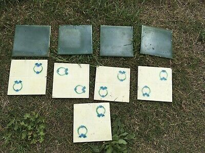 Victorian Ceramic Floor Tiles Fireplace Fire Antique Vintage x9 Old 6 X 6