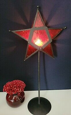 Star Shaped Candle Holder - Red Stained Glass & Black Metal by Elements