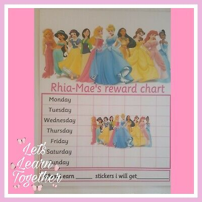 🎀 Children's Behaviour Chart - Reward / star Princess Chart. FULLY RE-USABLE 🎀