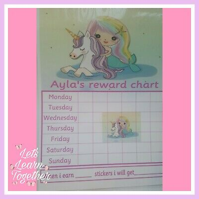 🎀 Children's Behaviour Chart - Reward / star Unicorn Chart. FULLY RE-USABLE🎀