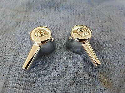 Pair of Lever Handles for Central Brass Faucets in Chrome Metal (1 hot, 1 cold)