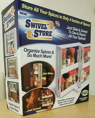 Swivel Store, spice rack, pills, medicine cabinet, storage space saving, boxed