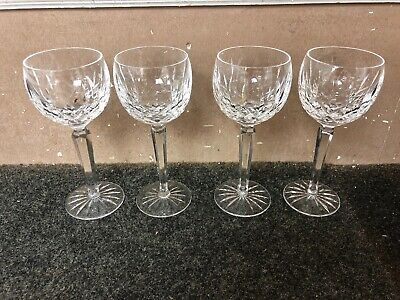 "WATERFORD Cut Crystal  LISMORE Pattern 4 WINE  Glasses 7 3/8""  Balloon Goblets"