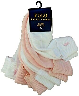 RALPH LAUREN Girl white/pink SOCKS w/pony * 6 PACK 2/4Y fancy edge