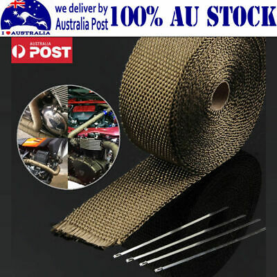 Car Exhaust Heat Wrap Titanium 10Mx50Mm Roll+10 Stainless Ties Insulation Au Hot
