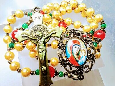 CHRISTMAS ROSARY Victorian Gold Pearl Red Jade Madonna Cameo Benedict Rosary