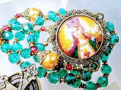 CHRISTMAS ROSARY Victorian Style Emerald Green Gold Pearl Crucifix Watch Rosary