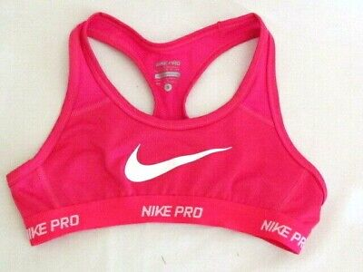 NIKE Girls Hypercool Pro Sports Bra Vivid Pink and White 641644-616 Small NWT
