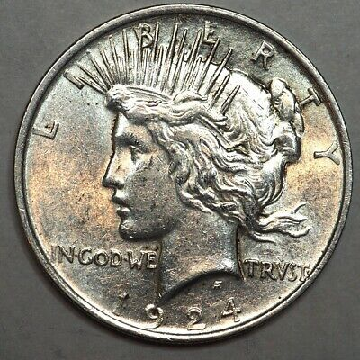 1924 Peace Dollar Gem Bu++ Nice Blast White Sharp Strike Nice ! Nr #L24