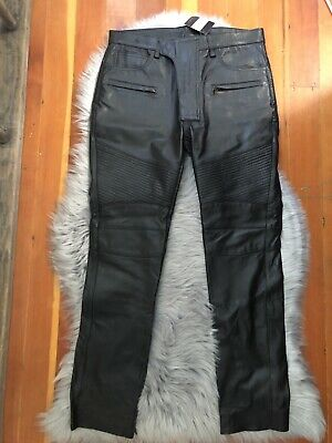 BACCA DA SILVA Women's BLACK LEATHER BIKER MOTO PANTS Ankle Zip Sz 30 NWT $575
