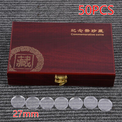 1pc Wooden Coins Display Storage Box Case For Collectible Coin With 50 Capsules