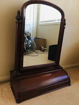 Antique Victorian Mahogany Tilting Toilet Mirror With Large Rollover Drawer