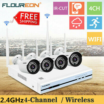 4CH Wireless CCTV 1080P DVR WiFi Outdoor IP Camera Home Security NVR System Kits