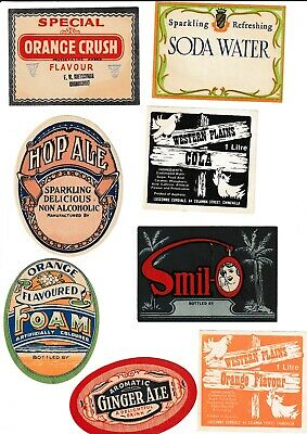 8 Original Soft Drink Labels.   Including      Chinchilla    And  Goombungee