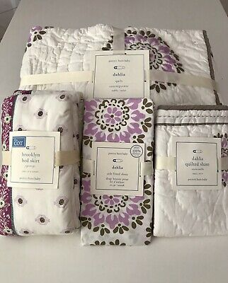 Pottery Barn Baby Cot Set- Quilt, Crib Fitted Sheet, Quilted Sham, Bed Skirt.