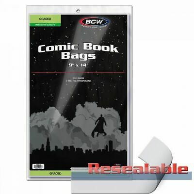 """100 BCW Graded Comic Book Bags Resealable Sleeves 9"""" x 14"""" + 1.5"""" flap CGC CBCS"""
