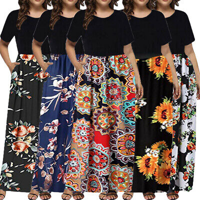 Womens Summer Boho Floral Sundress Holiday Beach Party Long Maxi Dress Plus Size