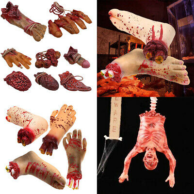 Halloween Bloody Body Parts Props Realistic Hand Feet Haunted House Party Decor