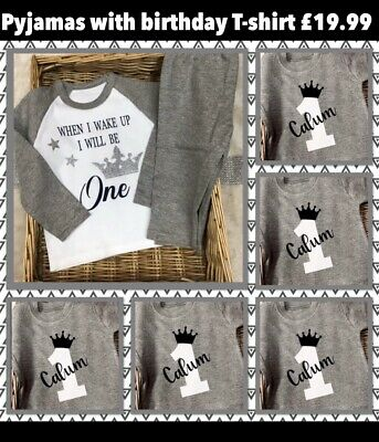 Birthday pyjamas WITH T-shirt Set girls or boys Grey Age 1,2,3 Special Offer