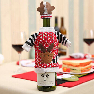 Christmas Wine Bottle Decor Deer Bottle Cover Clothes for New Year Xmas Party