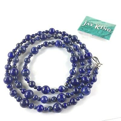 """Jay King Blue Lapis Bead Necklace 36"""" Alternating Pattern Sterling Silver Round"""