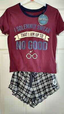 HARRY POTTER Womens Older Girls Pyjama Pyjamas T Shirt & Tartan Shorts Set NEW