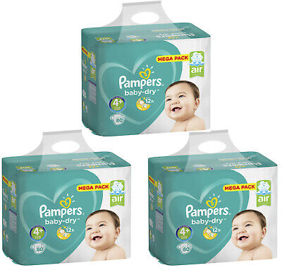 NEUF 240 Couches Pampers baby-dry Taille 4+ Maxi+ de 10 à 15kg Mega Pack
