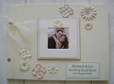 PERSONALISED LINEN  wedding  GUEST BOOK A4 SIZE WITH BOX..PHOTO INSERT