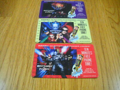 3 vintage 1997 telephone calling cards Batman and Robin Movie, Duracell batterie