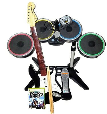 Rock Band 2 XBOX 360 Drums, Pedal, Mic, and Guitar Bundle 1 Game