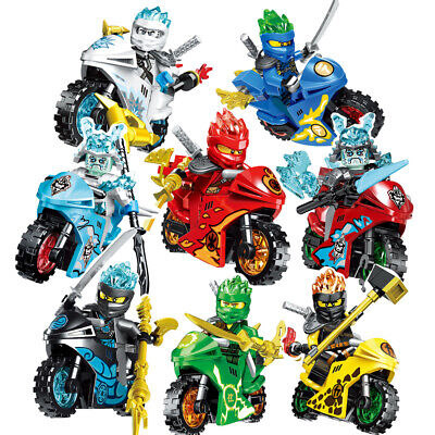 New 8Pcs Ninjago Motorcycle Building Blocks Ninja Mini Figures Kids Blocks Toys