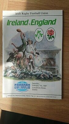 Ireland Vs England 1987 Official Programme rugby union