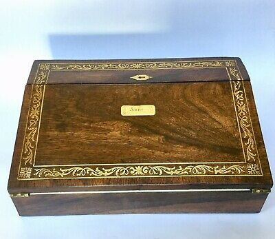 Antique French Boulle Work Writing Slope Lap Desk Early 19c Cross Banding