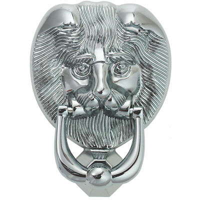 Fab & Fix Lions Head Door Knocker Polished Chrome 98 x 136mm