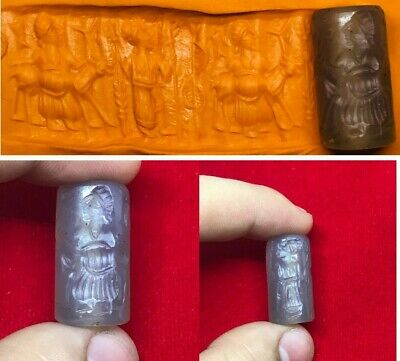Lovely Ancient old Sassanian White old agate Seal Cylinder Bead