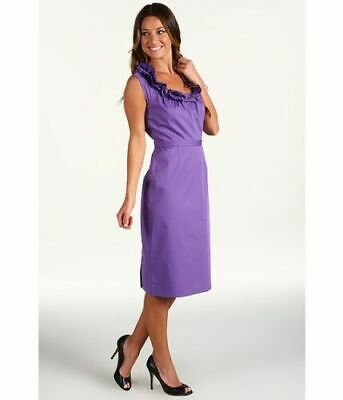 ELIE TAHARI Roxanna Purple Ruffle Neck Belt Dress, size 14