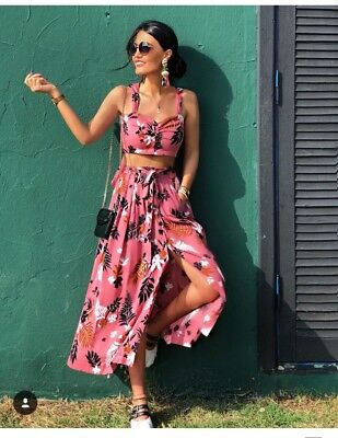 Zara Pink Printed Skirt Belt & Tropical Print Crop Top Large Co ord Set 2 Piece