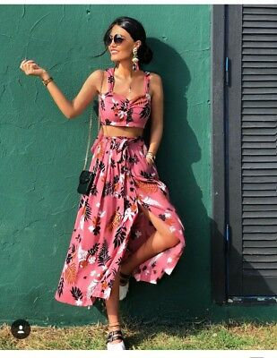 Zara Palm Pink Print Skirt Small Tropical Crop Top Medium Co ord Set Two Piece