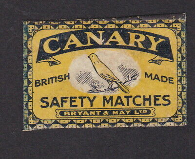 Old Matchbox label  England BN80564 Bryant & May Bird Canary