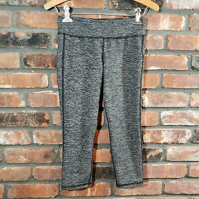 Old Navy Active Girl's L 10/12 Gray Striped Mid-rise Go-Dry Cropped Leggings EUC