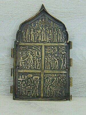 Antique 19th Russian Orthodox bronze enamel icon Double-sided
