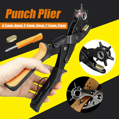 Punch Plier Leather Belt Round Hole Eyelet Strap Revolving DIY Tool Heavy Duty
