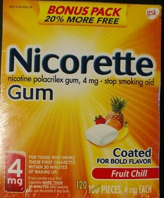 Nicorette Stop Smoking Aid, 4 mg, Gum, Fruit Chill Coated 120 pieces EXP 05/2021