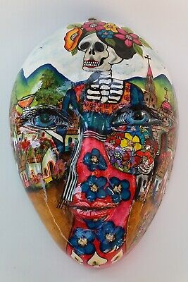 Mexican Hand Painted Mask Catrina Town Dia de Muertos Day of the Dead Motif
