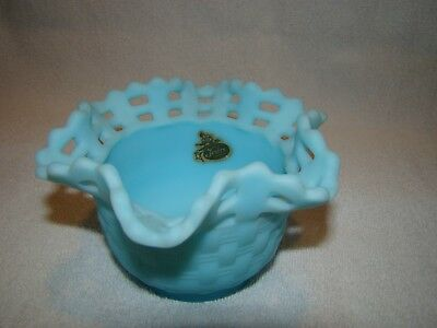 Fenton Blue Satin Open Lace Fluted Edge 4 Inch Vase
